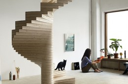 """Spiral stair is sleek and """"sustainable""""."""