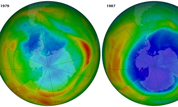 Two images that raised global alarm over the ozone layer.