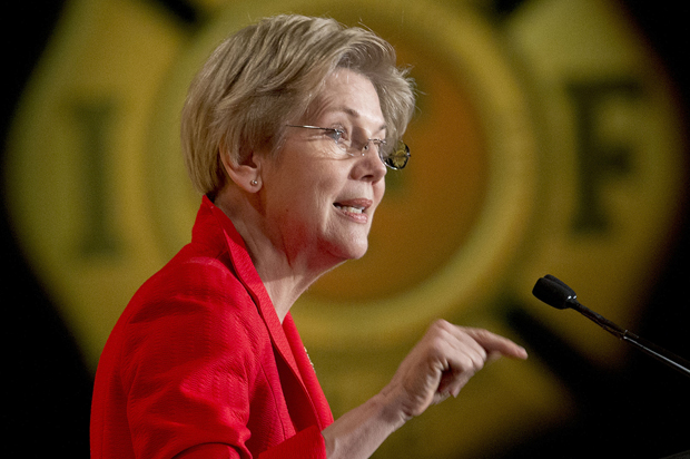 Sen. Elizabeth Warren, D-Mass. speaks at the International Association of Firefighters (IAFF) Legislative Conference and Presidential Forum in Washington, Monday, March 9, 2015. (AP Photo/Pablo Martinez Monsivais)
