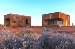 WEATHERED STEEL AND RECLAIMED WOOD CLAD STUNNING CABINS ON A NAVAJO RESERVATION