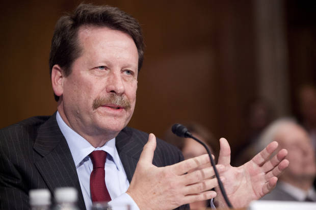 Dr. Robert Califf, President Barack Obama's nominee to lead the Food and Drug Administration (FDA), testifies on Capitol Hill in Washington, Tuesday, Nov. 17, 2015, before the Senate Health, Education, Labor and Pensions Committee hearing on his nomination. (AP Photo/Pablo Martinez Monsivais)