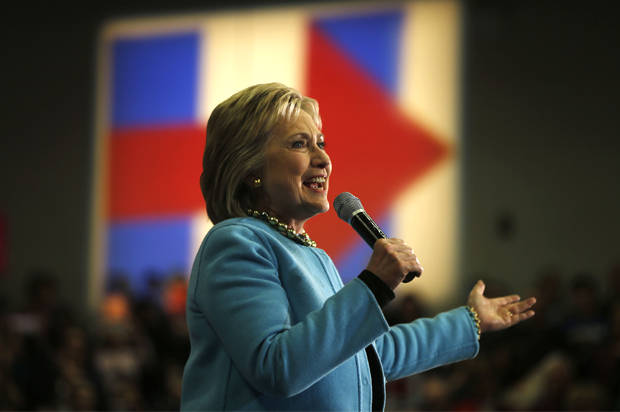 Democratic presidential candidate Hillary Clinton speaks during a campaign stop Monday, Feb. 8, 2016, in Hudson, N.H. (AP Photo/Matt Rourke)