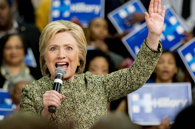 Democratic presidential candidate Hillary Clinton speaks at a rally to promote early voting ahead of Super Tuesday at the University of Arkansas at Pine Bluff Sunday, Feb. 28, 2016, in Pine Bluff, Ark. (AP Photo/Gareth Patterson)