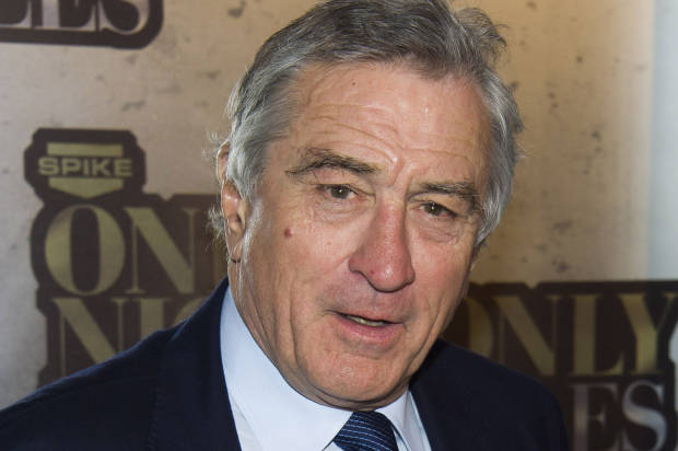 "FILE - In this May 6, 2014 file photo, Robert De Niro attends ""One Night Only: An All-Star Comedy Tribute,"" honoring Don Rickles, in New York.  Rickles is being feted by Spike TV with a 90-minute special, ""One Night Only: An All-Star Comedy Tribute."" The event, attended by De Niro, Martin Scorsese, Jerry Seinfeld, and others, taped earlier this month at Harlem's storied Apollo Theater, airs Wednesday, May 28, 2014, at 9 p.m. EDT, packed with love and a healthy dose of bile. (Photo by Charles Sykes/Invision/AP, File)"